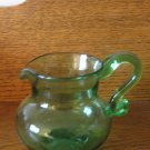 Green Glass  Pitcher  Hand Blown