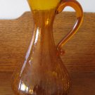 Crackle Glass Amber / Gold Large  Pitcher  Hand Blown