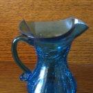 Crackle Glass Wide Flute Pitcher Vivid Blue Hand Blown