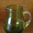 Crackle Glass Pitcher Green With Clear Ribbed Applied Handle Hand Blown