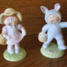 Cabbage Patch Kids Lot Of 2 Figurines Our Easter Bunny & In Your Easter Bonnet 5475 5476 1985