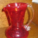 Crackle Glass Pitcher Red / Orange With Clear Applied Handle Hand Blown