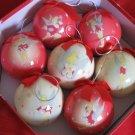 Disney Santa Tinker Bell Decoupage 7 Piece Ornament Set With Box Never Displayed