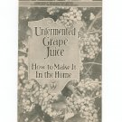 Unfermented Grape Juice Recipe / Cookbook By USDA Bulletin 1075 Vintage 1919