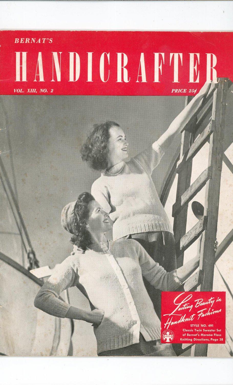 Bernat's Handicrafter Vol. XIII No. 2  Knitting Vintage 1942