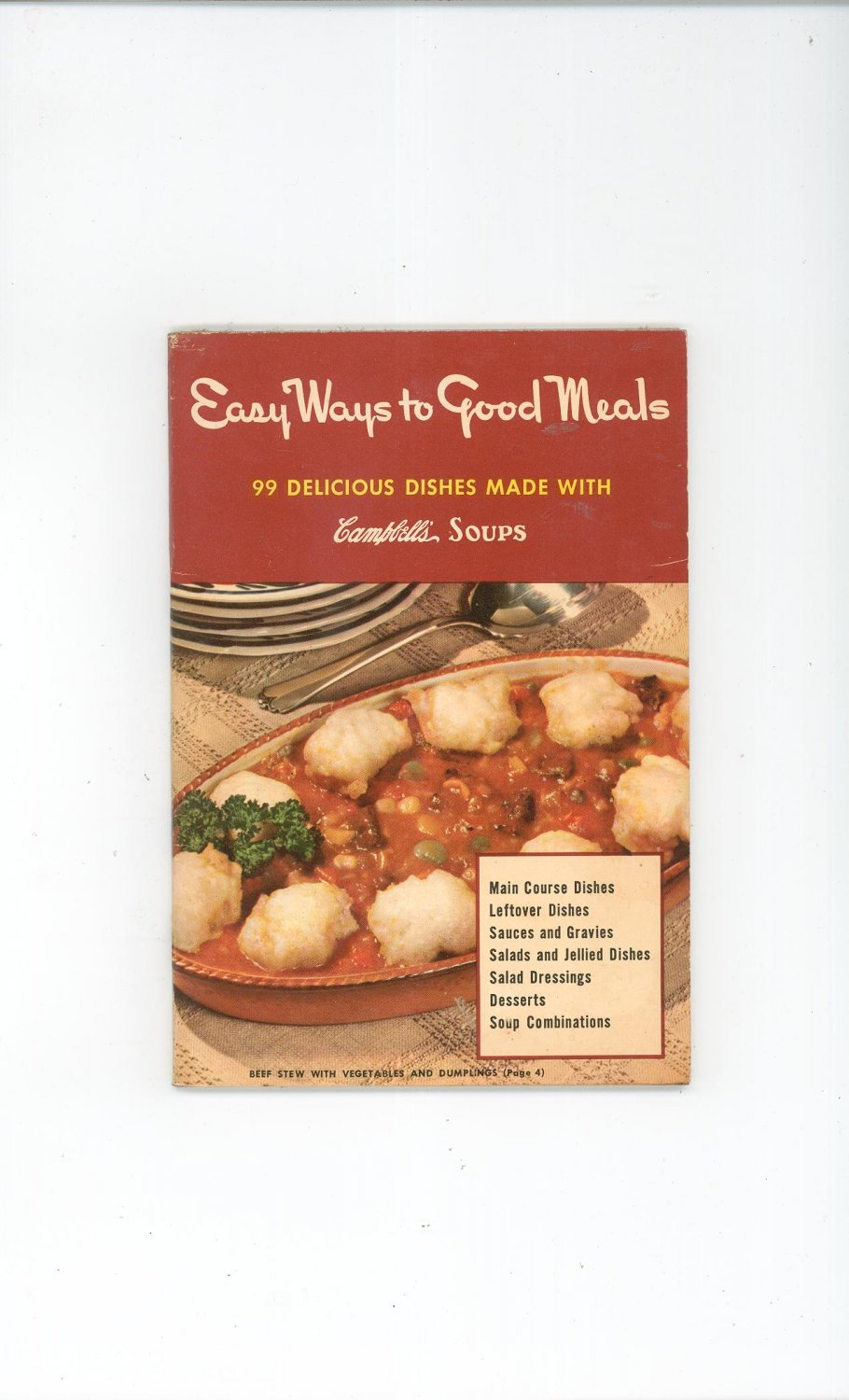 Vintage Easy Ways To Good Meals Cookbook by Campbell Soup 1949