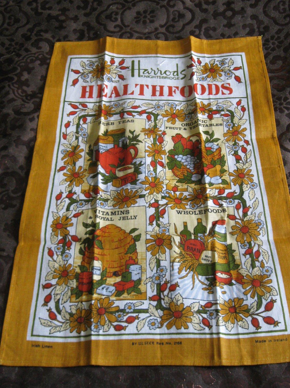Souvenir Harrods Knightsbridge Tea Towel By Ulster Reg. No. 2158 Ireland Linen