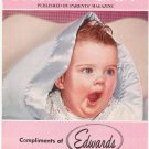 Your New Baby June 1959 Parents Magazine Lots Of Advertisements Given by Edwards NY