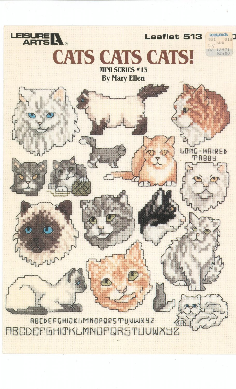 Cats Cats Cats Mini Series # 13 Leisure Arts 513 Mary Ellen