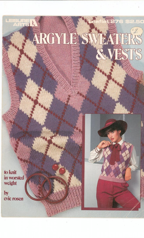 Argyle Sweaters & Vests Knitting Leisure Arts 276