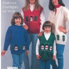 Easy To Knit Snowmen & Trees Pullover Cardigan Or Vest Brunswick 9532