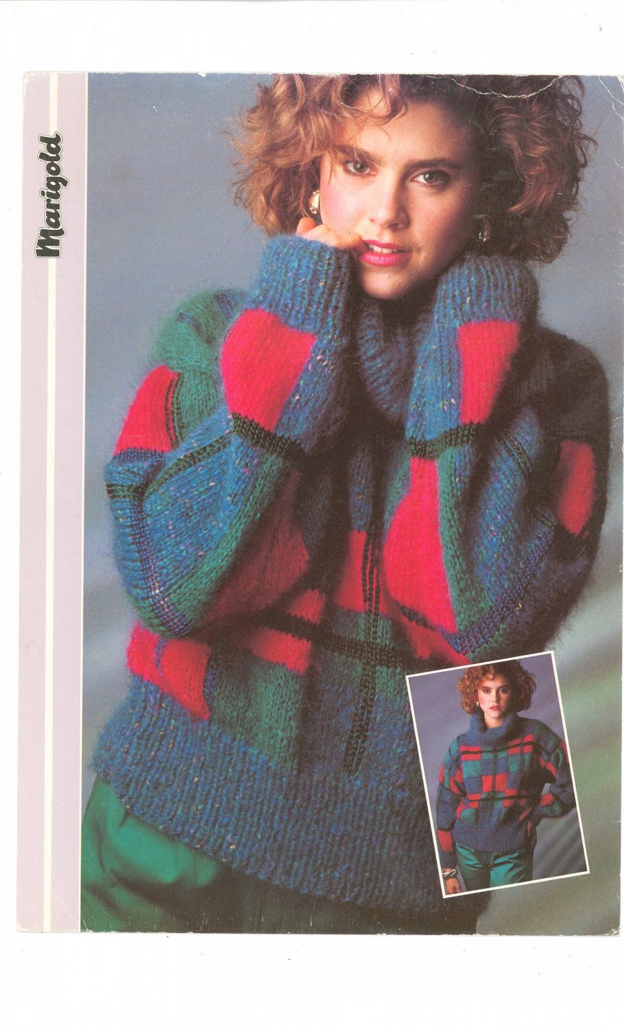 Marigold Plaid Pullover Sweater Knitting Number MO 7
