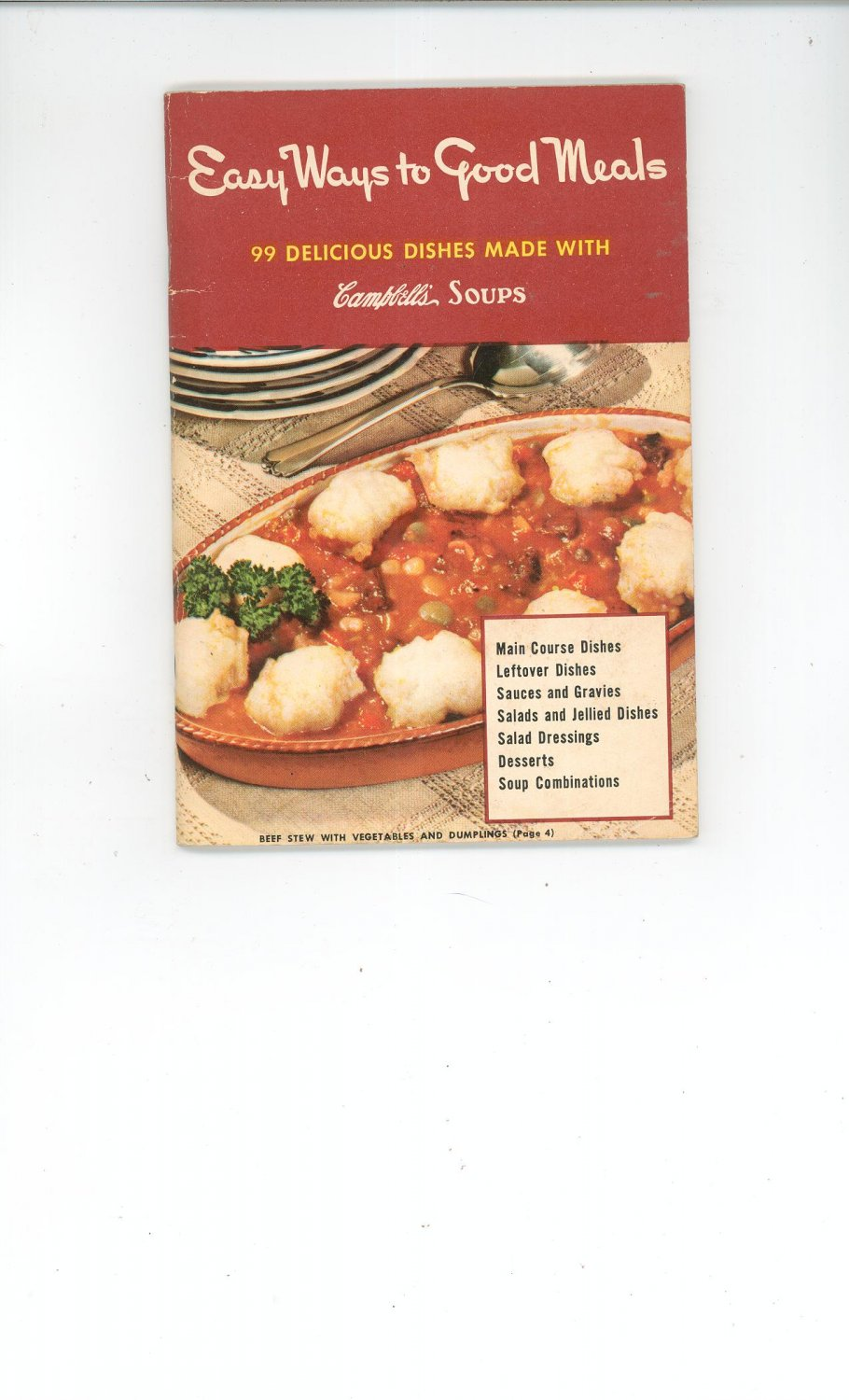 Vintage Easy Ways To Good Meals Cookbook by Campbell  Soup 1950