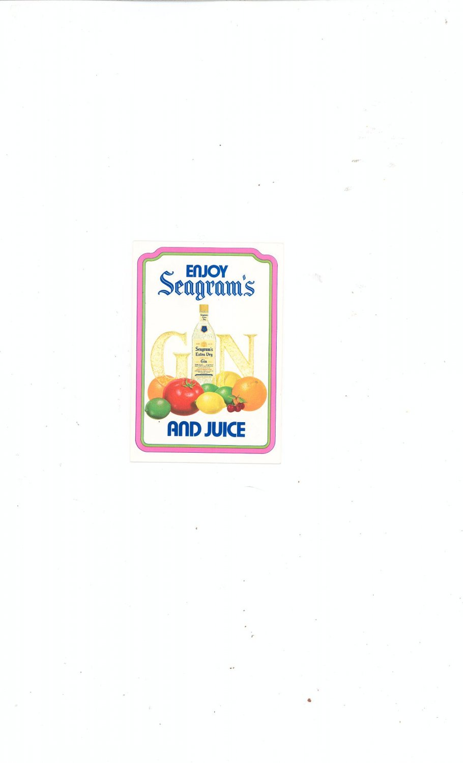 Enjoy Seagrams Gin  And Juice Recipe Booklet / Pamphlet