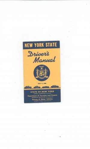 Vintage New York State Driver's  Manual July 1 1958