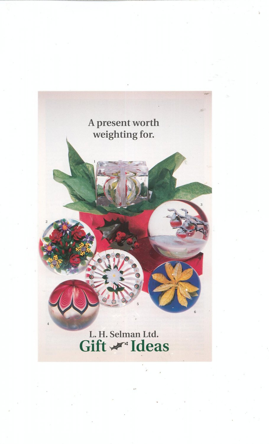 A Present Worth Weighting For Gift Ideas Catalog / Brochure by L. H. Selman Ltd. Paperweights