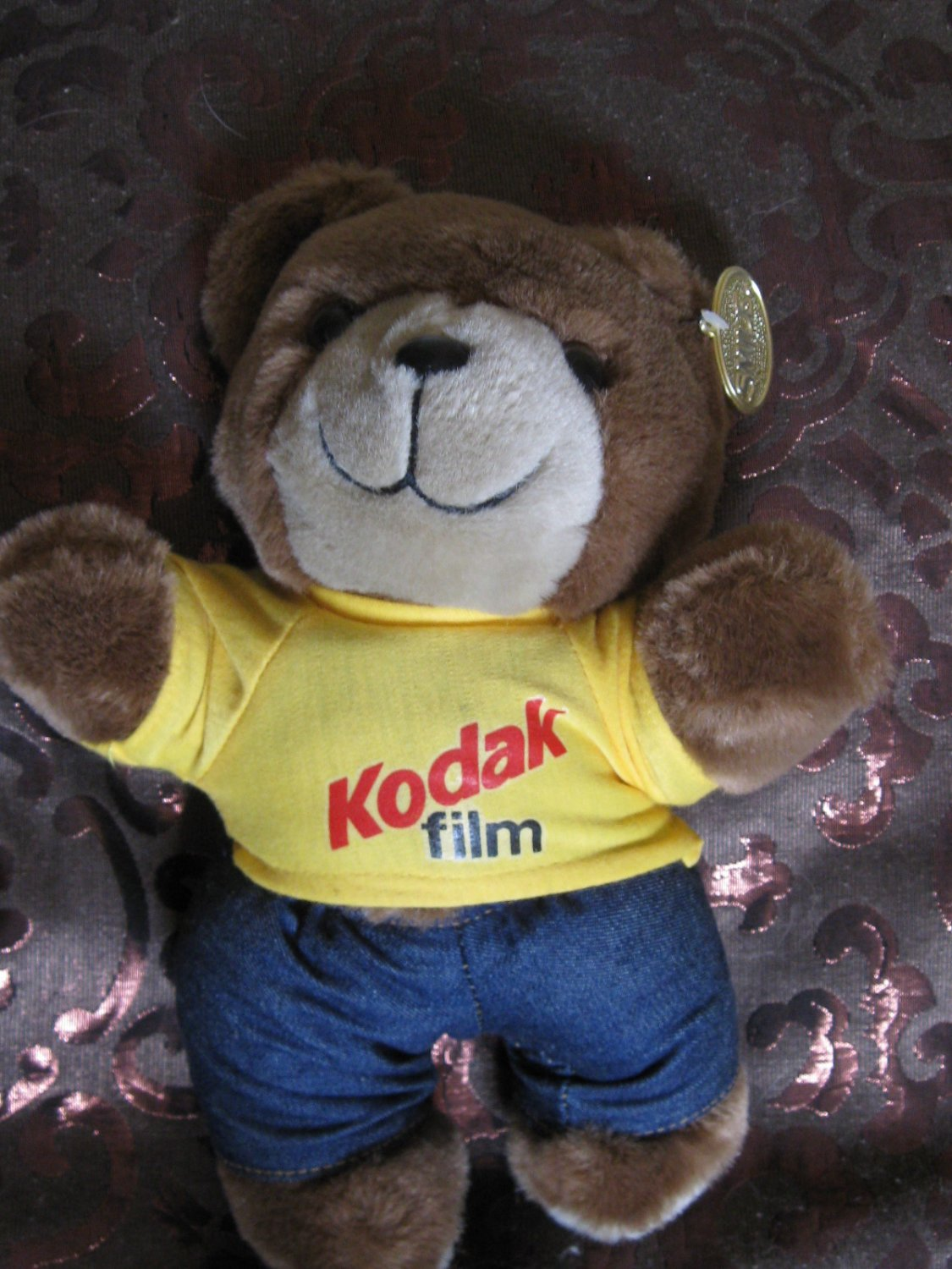 Adorable Advertising Stuffed Bear With Kodak Film Shirt Complete With Smile Tag
