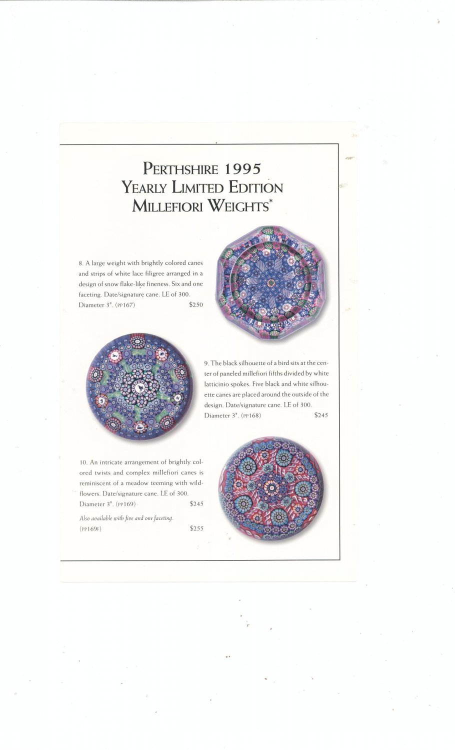 Perthshire Paperweights 1995 Yearly Ltd. Edition Millefiori Catalog / Brochure by L. H. Selman Ltd.