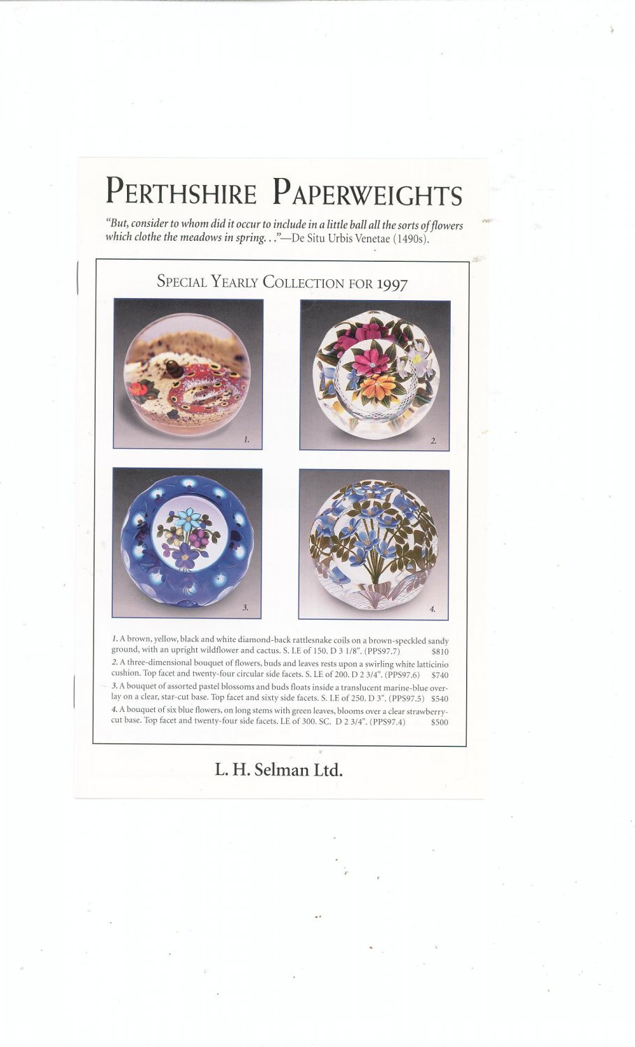 Perthshire Paperweights Special Yearly Collection For 1997 Catalog / Brochure by L. H. Selman Ltd.