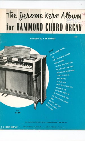 The Jerome Kern Album For Hammond Chord Organ Vintage J. M. Hanert