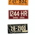 Lot Of 3 1954 License Plates Miniature North Carolina Ohio Montana General Mills