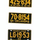 Lot Of 3 1954 License Plates Miniature West Virginia Oklahoma Maryland General Mills