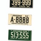 Lot Of 3 1954 License Plates Miniature Mississippi Arizona Arkansas General Mills