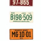 Lot Of 3 1955 License Plates Miniature Missouri Wisconsin Maryland General Mills