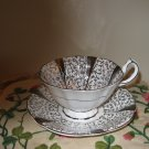 Queen Anne Silver Lace Cup & Saucer Bone China England