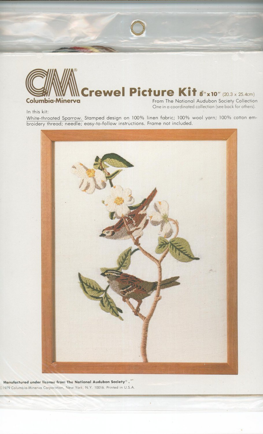 Crewel Picture Kit White Throated Sparrow by Columbia Minerva 7995