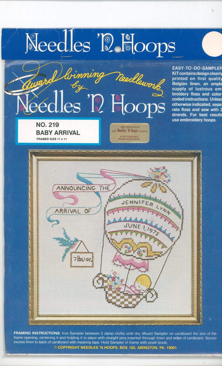 Baby Arrival Picture Kit Embroidery By Needles 'N Hoops Number 219