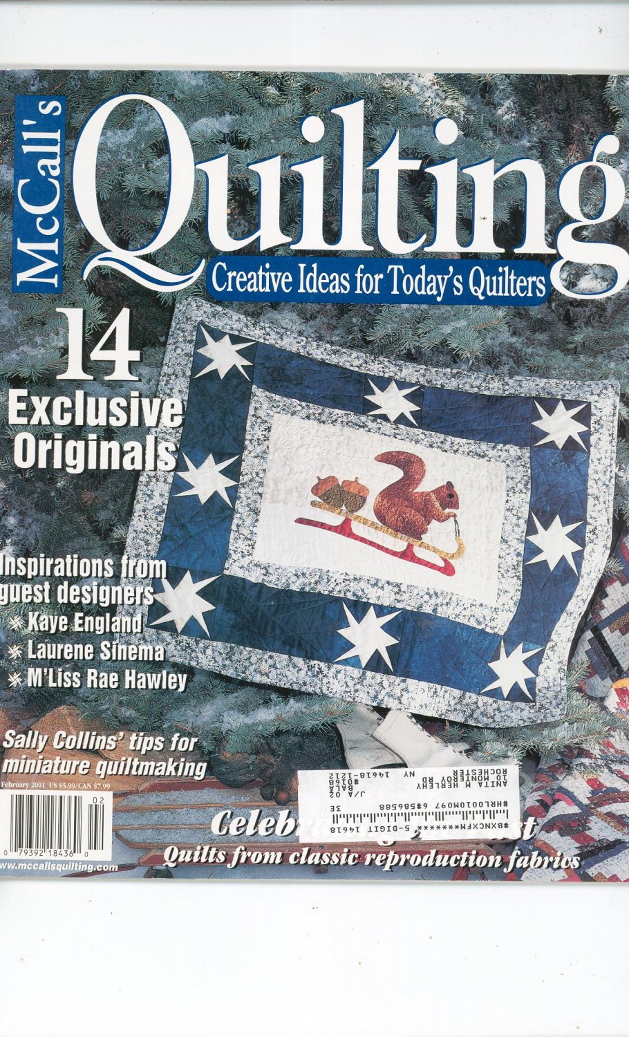 McCall's Quilting Magazine Back Issue February  2001