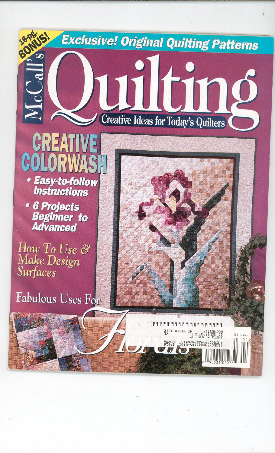 McCall's Quilting Magazine Back Issue April 1996