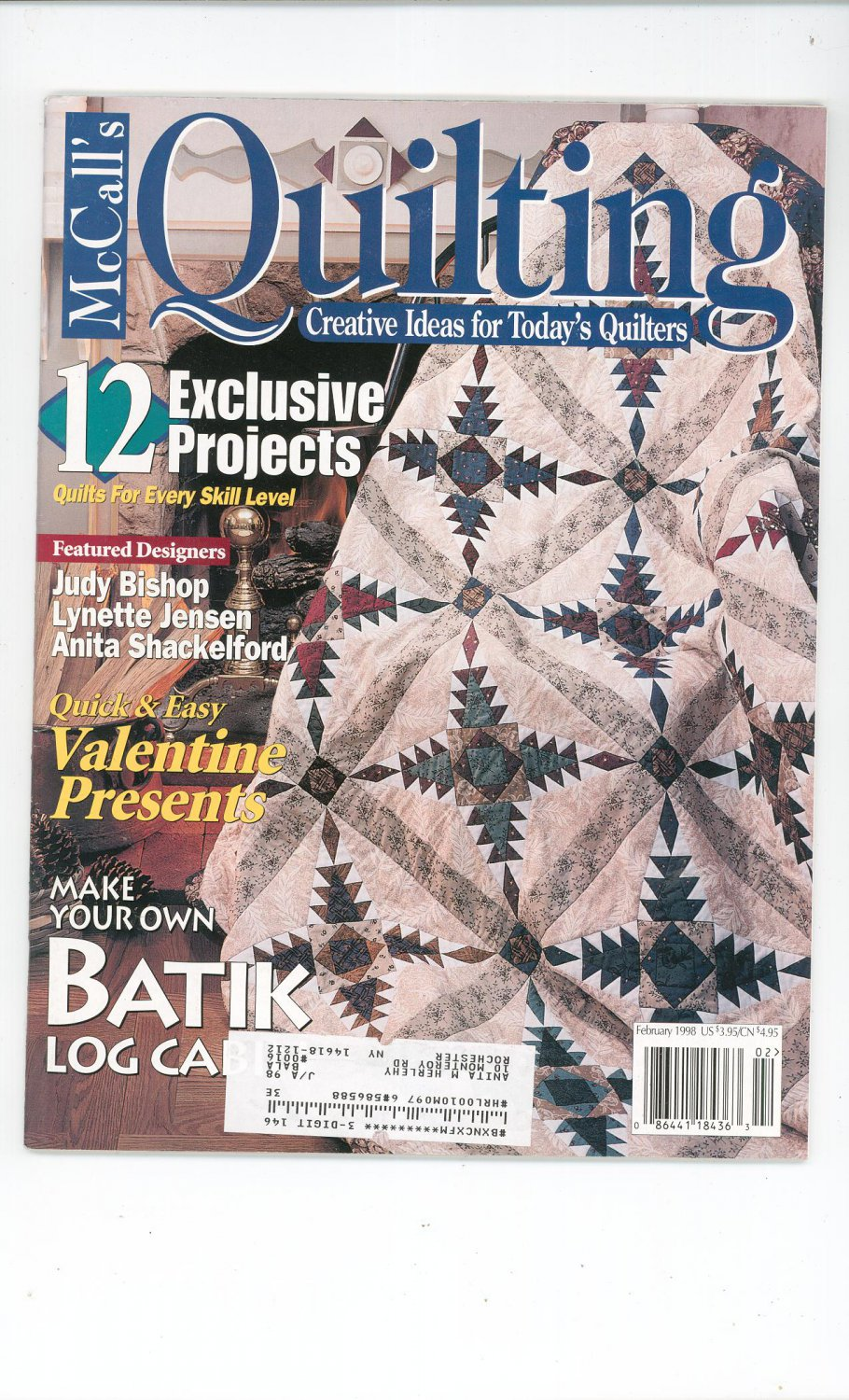 McCall's Quilting Magazine Back Issue February 1998