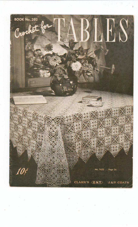 Crochet For Tables Clarks O.N.T J & P Coats Book Number 202 Vintage 1943