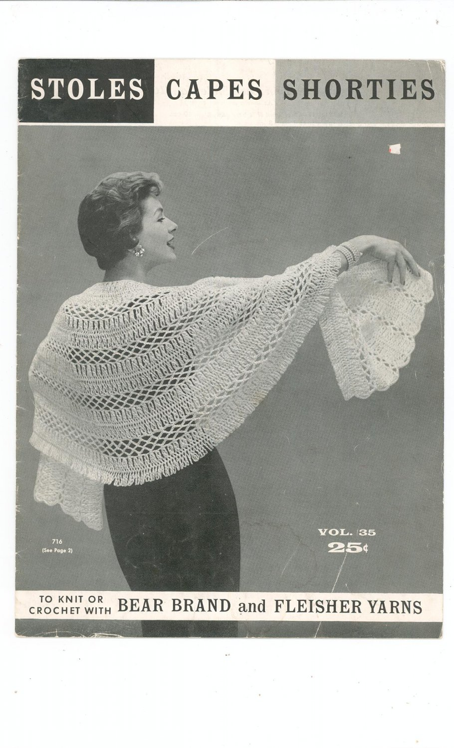 Vintage Stoles Capes Shorties Volume 35 Bear Brand Fleisher Yarns Knit Crochet 1956