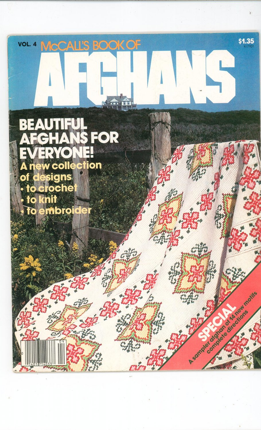 Vintage McCall's Book Of Afghans Volume 4 1979 Crochet Knit Embroider