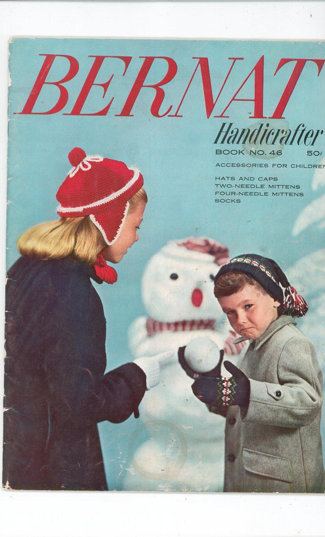 Vintage Bernat Handicrafter Book Number 46 Accessories For Children1955