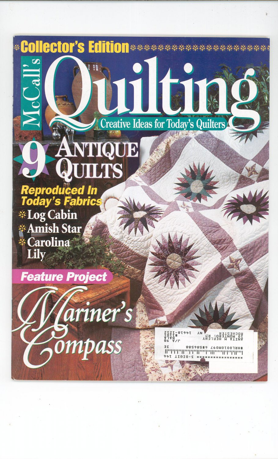 McCall's Quilting Magazine Back Issue February 1997 Collectors Edition