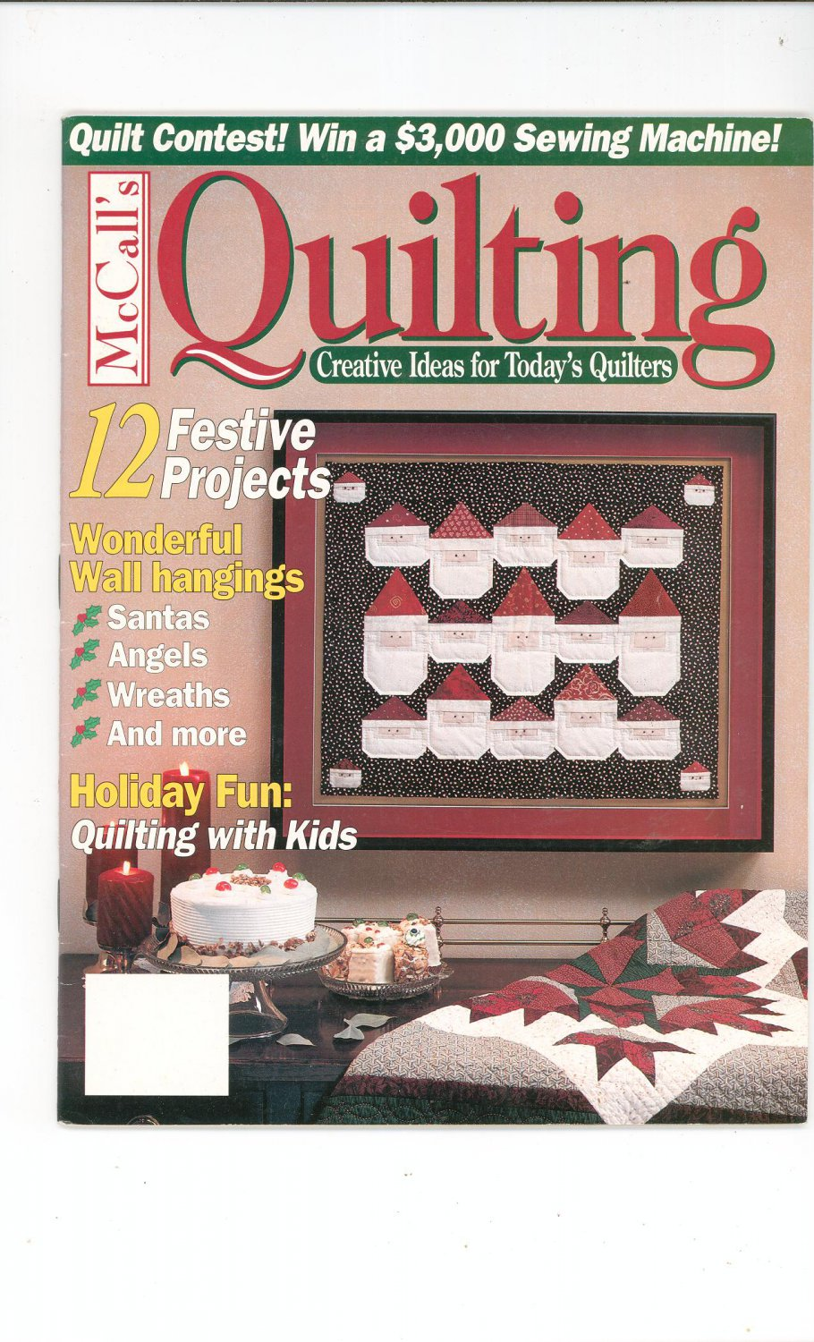 McCall's Quilting Magazine Back Issue November 1995 Santas Angels Wreaths