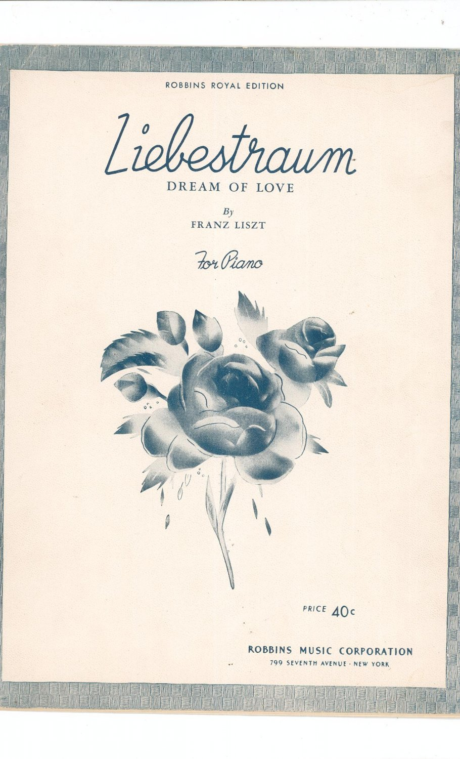 Vintage Liebestraum Dream Of Love Sheet Music Robbins Royal Edition Piano