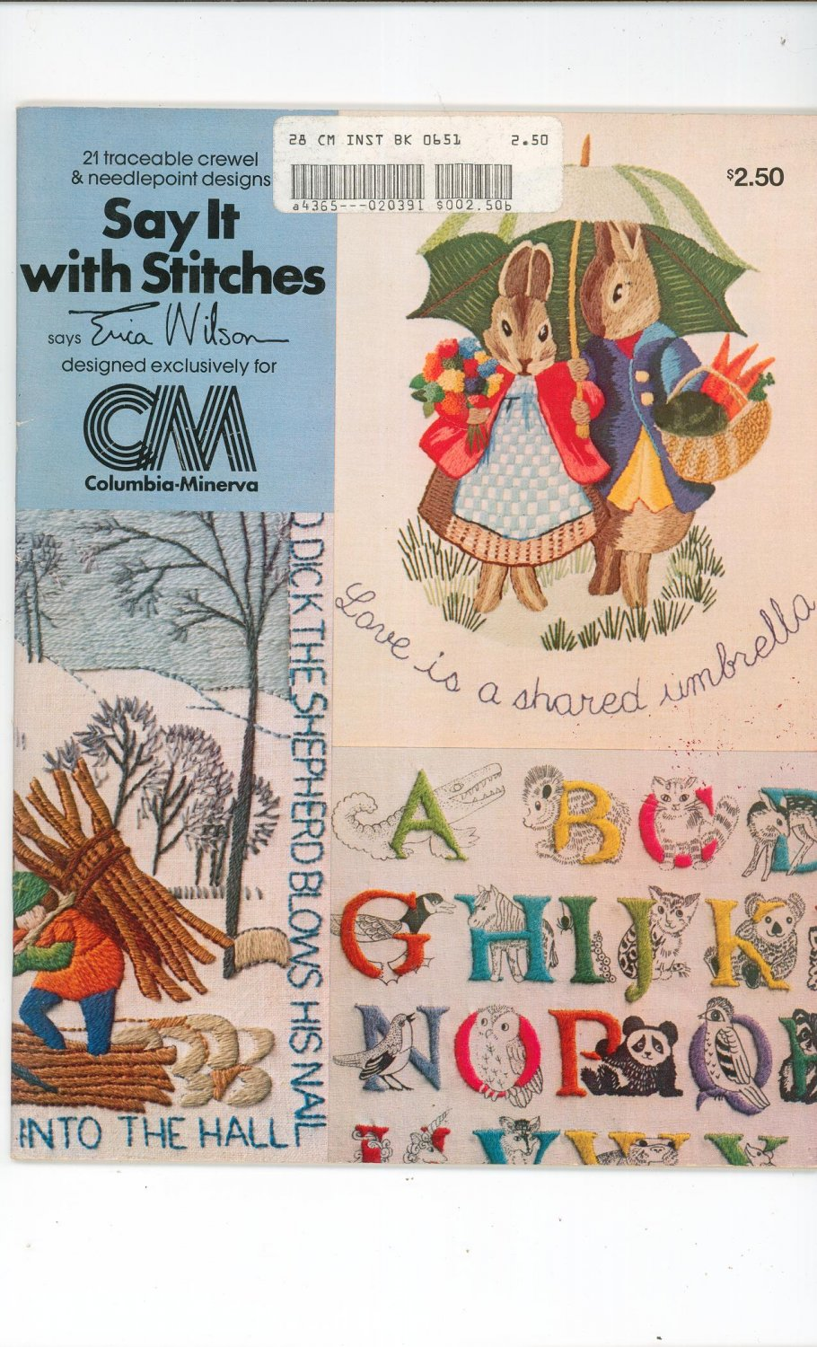 Vintage Say It With Stitches By Erica Wilson 1977 Crewel & Needlepoint