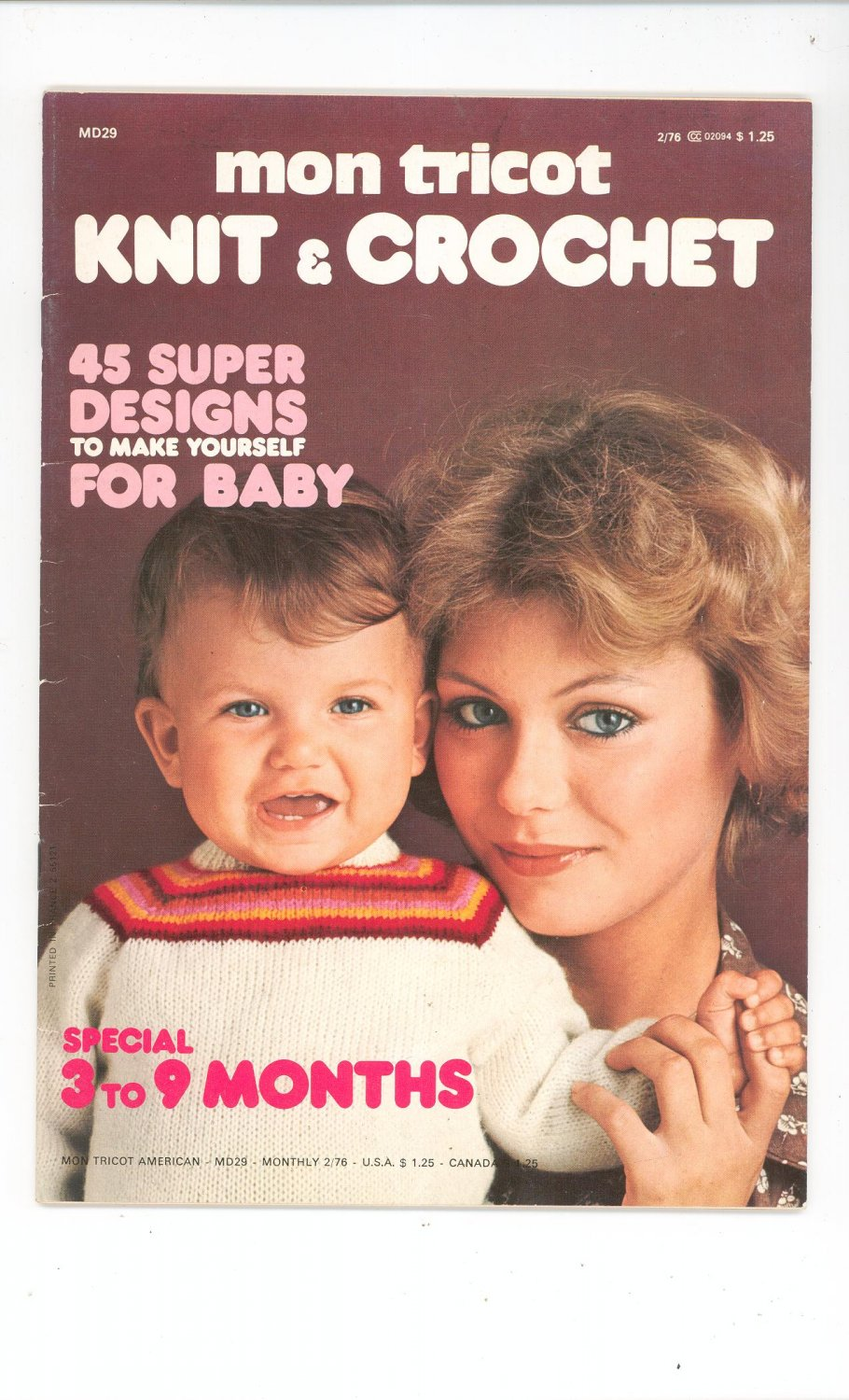 Mon Tricot Knit & Crochet Magazine Back Issue February 1976 For Baby
