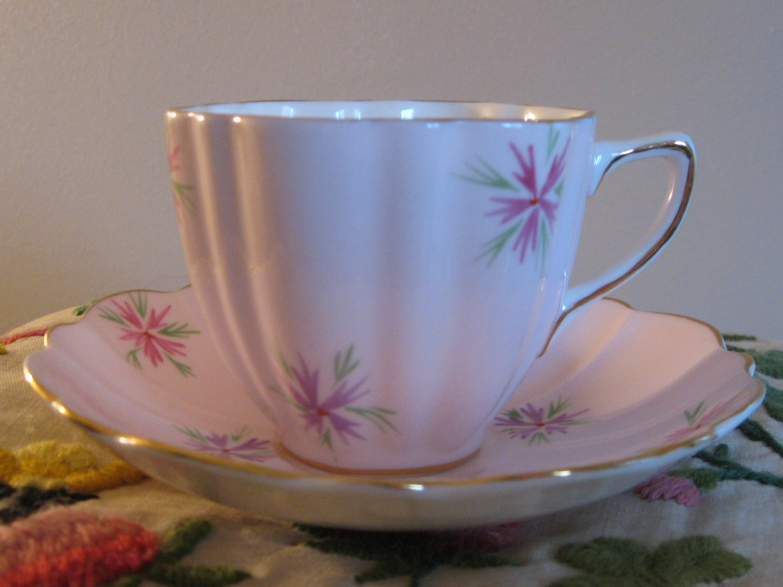 Elegant Soft Pink Old Royal Cup & Saucer Bone China England Gold Trim