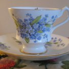 Souvenir Banff Canada Windsor Blue Floral Cup & Saucer Bone China England Gold Trim