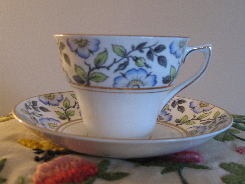 Rosina Blue Floral Cup & Saucer Bone China England Gold Trim