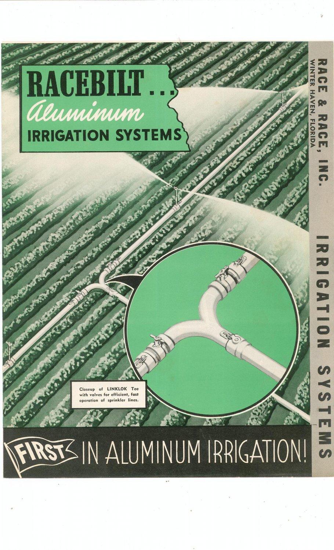 Vintage Racebilt Aluminum Irrigation Systems Advertising Brochure / Flyer Race & Race Inc. 1952
