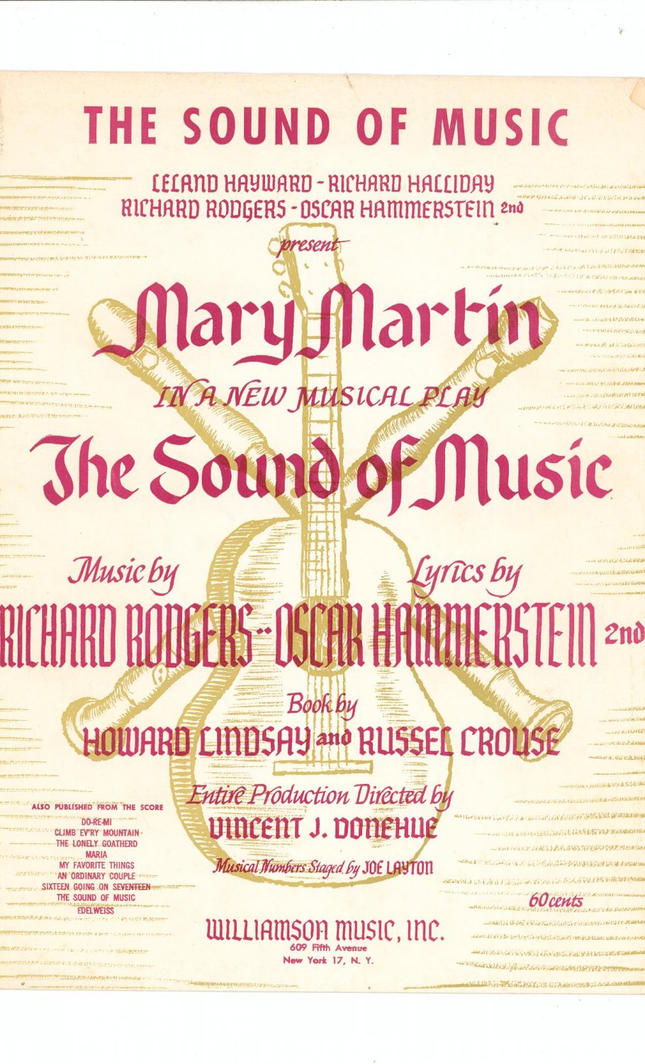 Vintage The Sound Of Music Mary Martin Sheet Music Shipping Special