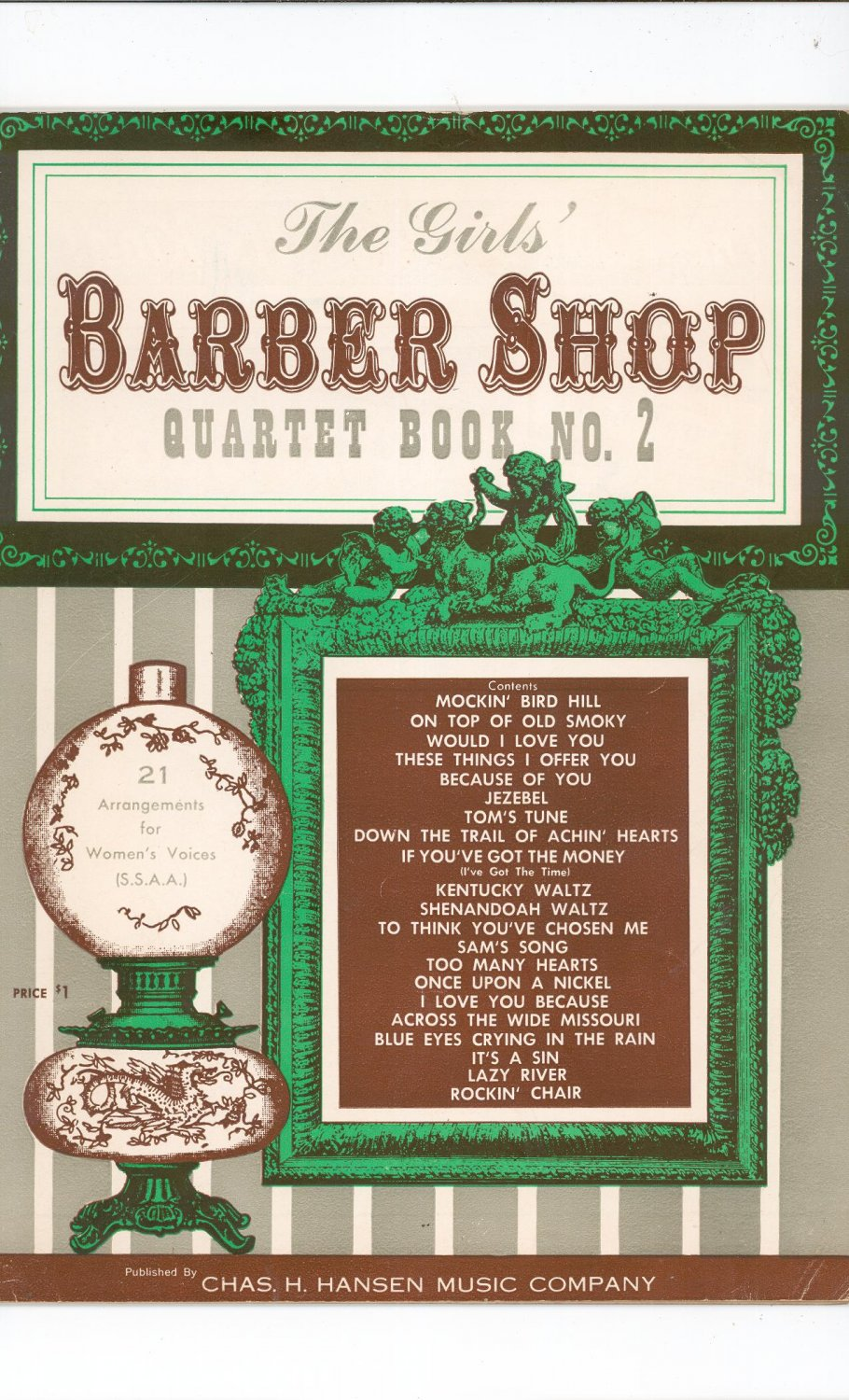 The Girls Barber Shop Quartet Book No. 2 Vintage Chas H. Hansen Music Company