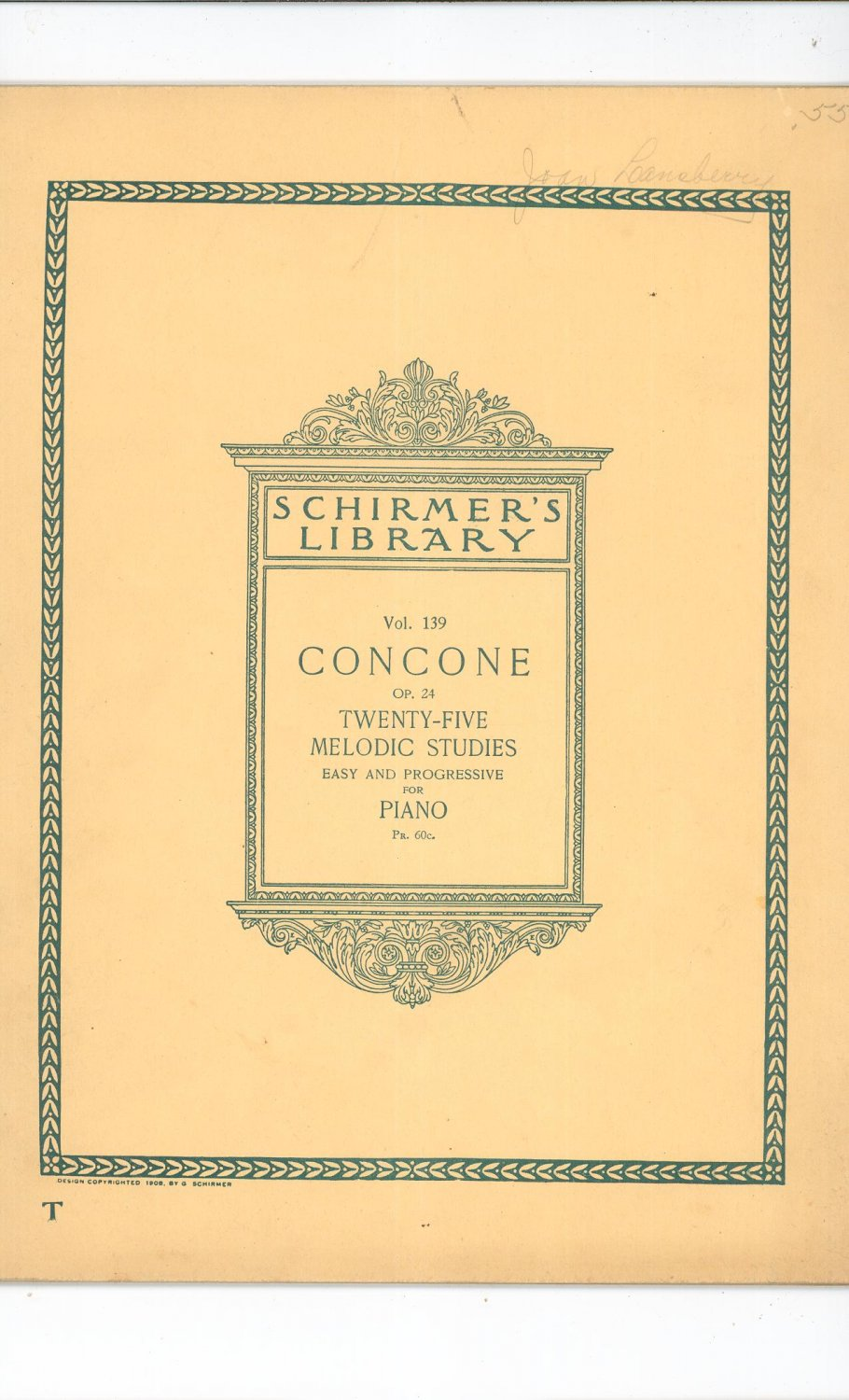 Vintage Concone OP. 24 For Piano Schirmer's Library Volume 139